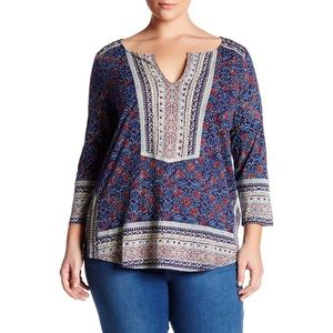 Lucky Brand Top Blue Red Mixed Floral Print